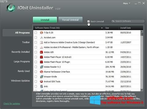 Ekrānuzņēmums IObit Uninstaller Windows 8