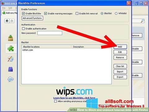 Ekrānuzņēmums uBlock Windows 8