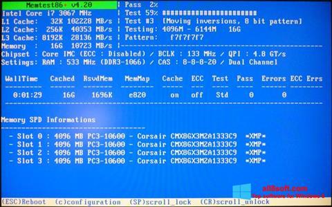 Ekrānuzņēmums MemTest Windows 8