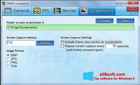 Ekrānuzņēmums Fraps Windows 8
