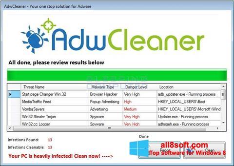 Ekrānuzņēmums AdwCleaner Windows 8