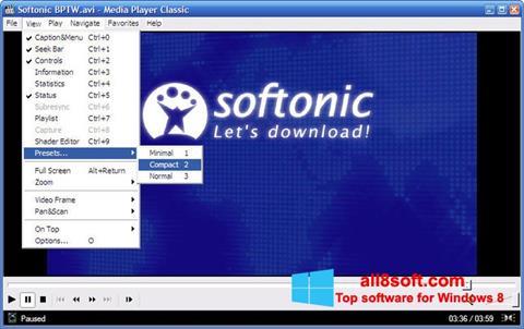 Ekrānuzņēmums Media Player Classic Windows 8