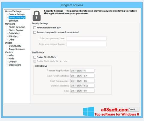 Ekrānuzņēmums Webcam Surveyor Windows 8