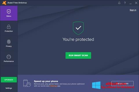 Ekrānuzņēmums Avast Free Antivirus Windows 8