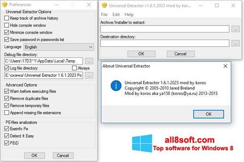 Ekrānuzņēmums Universal Extractor Windows 8