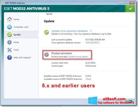 Ekrānuzņēmums ESET NOD32 Windows 8