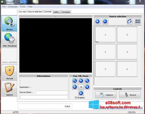 Ekrānuzņēmums webcamXP Windows 8