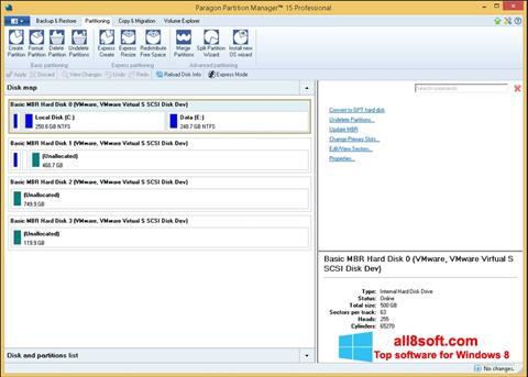 Ekrānuzņēmums Paragon Partition Manager Windows 8