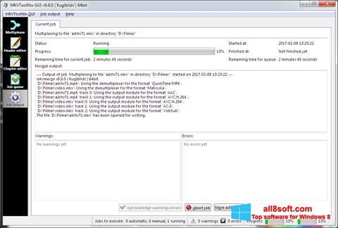 Ekrānuzņēmums MKVToolnix Windows 8