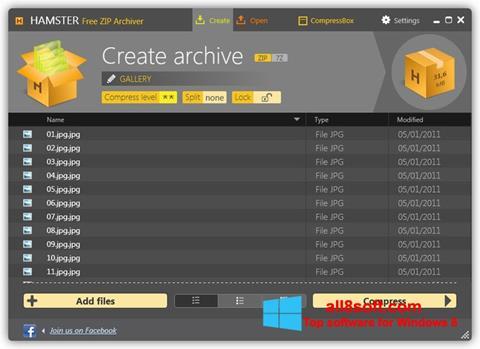 Ekrānuzņēmums Hamster Free ZIP Archiver Windows 8