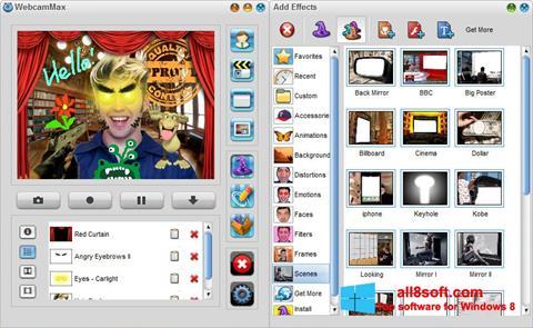 Ekrānuzņēmums WebcamMax Windows 8